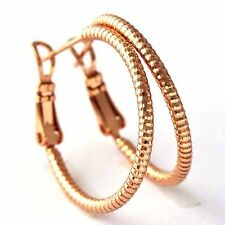 Rose Gold Filled Beads Girl Round Circle Gold Shining Huggie Hoop Earrings