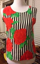 Womens Silk Tank Top Blouse XS S Black White Striped Floral Red Roses Chic Artsy