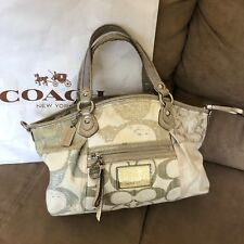 Coach Poppy C Glam crossbody purse bag Beige Gold-Authentic!