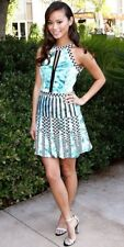 Parker Selita Pleated Dress Sleeveless Blue Black White Trim Skater Womens XS