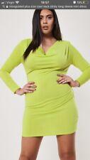 Missguided Plus Size Cowl Neck Slinky Long Sleeve Mini Dress. Size Uk 16