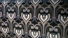100% cotone poplin tessuto Design retrò nero al metro