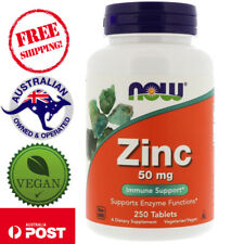 Now Foods Zinc 50 mg 250 Vegan Tablets Supports Enzyme Functions