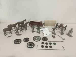 Marx Frontiersmen/Pioneers Silver Figures Plus Other Accessories Wagon Cannon