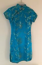 Woman's Arfan.co Chinese Style Dress Turquoise Ladies Dress Size 6