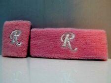 Nos Pink Monogram Initial R Sport Headband Sweatband Wristband Set Track Retro