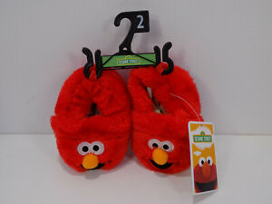 BRAND NEW SESAME STREET ELMO TODDLERS SLIPPERS SHOES SIZE 2 RED