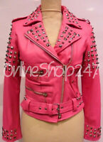 New Women Baby Full Silver Metal Studded Brando Style Rock Star Leather Jacket