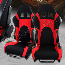 Black/Red TYPE-6 Fully Adjustable Cloth Bucket Racing Seats +Sliders Universal 5