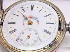 Antique 1800's No Name Silver Pocket Watch, 34 mm in size. Fancy Dial