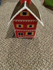 Vintage Plastic Canvas Little Brick Schoolhouse Tissue Cover