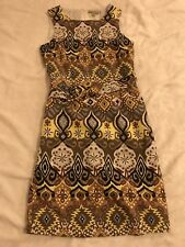 Beautiful Retro Vintage BIACCI Geometric Ladies Belted Dress Size 4