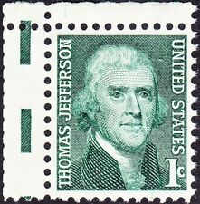 US - 1968 - 1 Cent Green Thomas Jefferson Issue # 1278 w/ Full Gutter F-VF Used