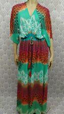 Charlie Jade Boho Maxi Dress Size S Sheer Dolman Sleeve Tassel Drawstring Waist
