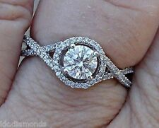 2.29 ct Off White yellow Moissanite Round Solitaire with Accents Ring 925 Silver