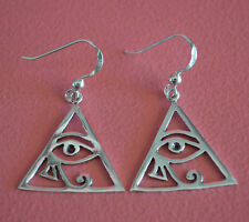925 Sterling Silver Eye of Ra Dangle Hook Earrings Egyptian Eye of Horus Earring