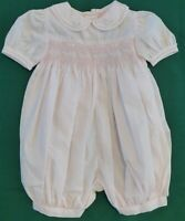 SMOCKED Petit Ami Pink SS Romper Girl 3 mo EUC Cutwork Embroidery Rosettes