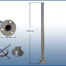 1 Meter V2A Edelstahl Rohr mit Flansch Bodenflansch für Geländer oder Handlauf