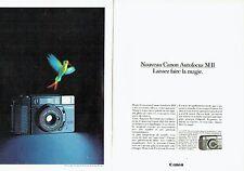 PUBLICITE ADVERTISING 0217  1984   Canon appareil photo Autofocus MII  (2 pages)