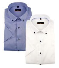 ETERNA Herren Kurzarm Business Hemd Slim Fit Oxford BD weiß & blau 8834.G083