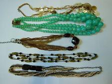 LOT/ de 5 colliers 1950/1980 Verre, résine, rocaille, nacre/bijoux, lot, anciens