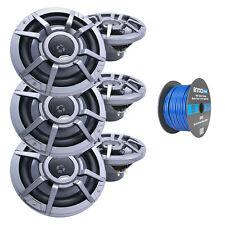 """Clarion 8.8"""" 2-Way 200 Watt Marine Speakers Gray (3 Pairs), Tinned Speaker Wire"""
