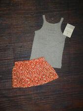 NWT Carter's Baby Girls Gray Tank Top Shirt & Orange Skirt Outfit Set 6 Months