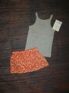 NWT Carter's Baby Girls Gray Tank Top Shirt & Orange Skirt Outfit Set 6 Months