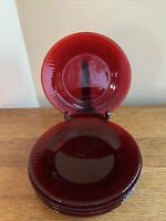 """SET OF 6 Fenton? Ruby Red Elongated Hobnail 10"""" Dinner Plates; Christmas Holiday"""