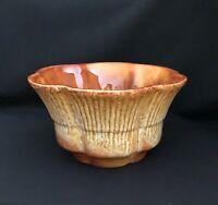 Haeger U.S.A. #156 Glazed Orange + Off White Scallop Edge Planter Bowl