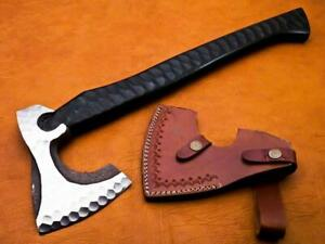 Axe -Custom Hand Forged Carbon Steel Axe with Sheath | Black Wood Handle