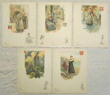 Lot de 5 menus publicitaires anciens illustrés Cognac Otard Dupuy c.1930