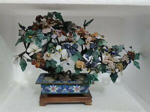 Antique Chinese Cloisonne Planter Jade Tree.