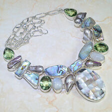 NATURAL ABALONE SHELL, GREEN AMETHYST, MOONSTONE 925 SILVER NECKLACE