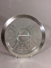 "Hawkes Art Glass Sterling Silver Rim American Brilliant Period LG Tray 15"""