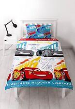 SINGLE BED CARS LIGHTNING DUVET COVER SET MCQUEEN STORM WHITE RED BLUE TROPHY