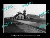 OLD LARGE HISTORIC PHOTO OF GRAND RAPIDS WISCONSIN, RAILROAD DEPOT STATION c1910