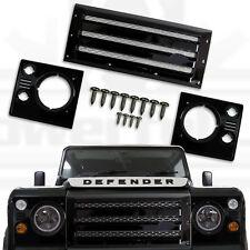 Griglia ANTERIORE XS + testa lampada circonda per Land Rover Defender Nero Argento