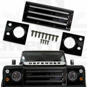 XS Front grille+head lamp surrounds for Land Rover Defender black silver