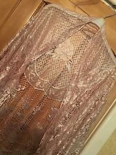 Pale Gold Delicate Lace Shawl Scarf Shrug Or Sarong Brand New