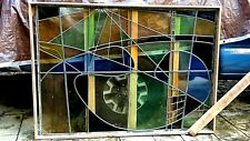 LARGE ARCHITECTURAL STAINED GLASS WINDOW MULTI-COLORED ABSTRACT DESIGN,SIGNED