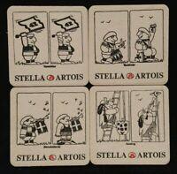 STELLA ARTOIS BAZUINBLAZER CARTOON FOUR MAT COASTER SET 1970S ? NEW PRESERVED !!