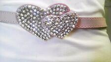Pink Skinny Elegant Woman Design Belt With Double Rhinestones Heart Size  M L