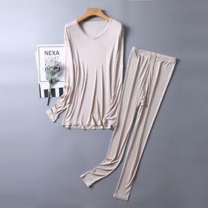 Men's 50% Silk 50% Viscose Long Johns Warm Thermal Underwear Set L XL 2XL SG204