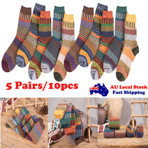 5 Pairs Autumn Winter Nordic Socks Thick Knitted Two-Way Colorful Floral Fashion