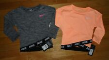 Lot 2 Nike Baby Girls Long Sleeve Shirts Dri-Fit Black Orange Baby Toddler 2 2T