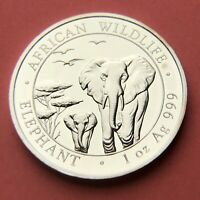 2015 1oz .999 Fine Silver African Wildlife Elephant Coin. 100 Shillings
