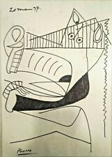 PABLO PICASSO ORIGINAL MARKER  DRAWING  ON PAPER,  SIGNED, STAMPED