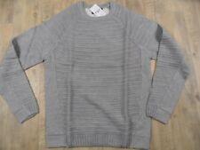 PULL&BEAR schöner Pullover Materialmix grau Gr. L NEU