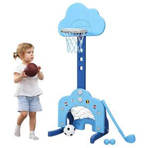 6 in 1 Kinder Spielplatz, höhenverstellbarer Basketballkorb & Fußballtor & Golf